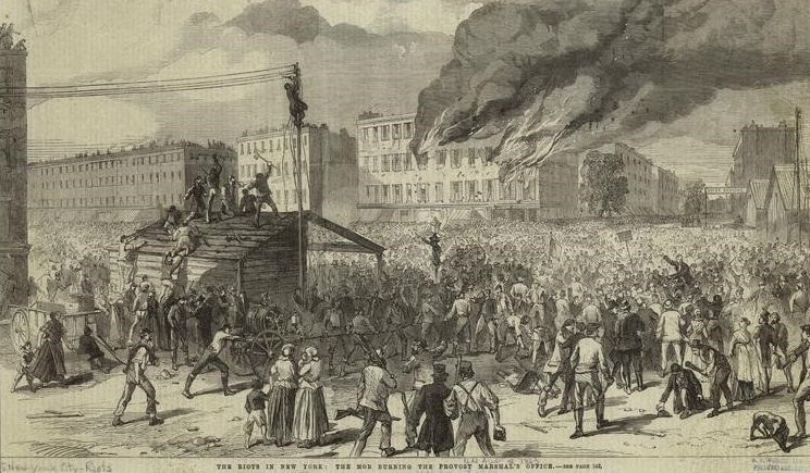 Depiction of the burning of the Provost Marshal's office, New York City Draft Riot, July 1863